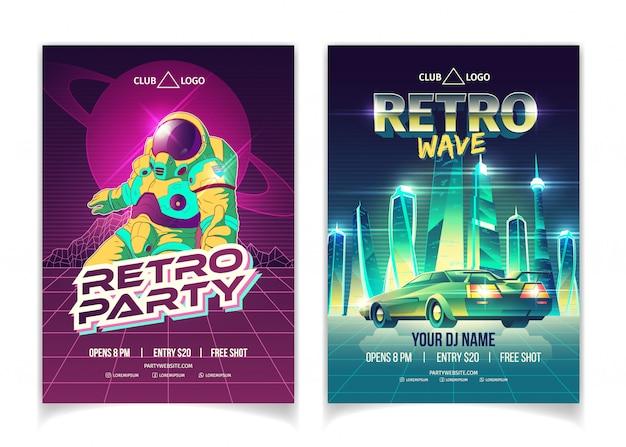 Fiesta de música de onda retro en cartel de anuncio de dibujos animados de discoteca vector gratuito