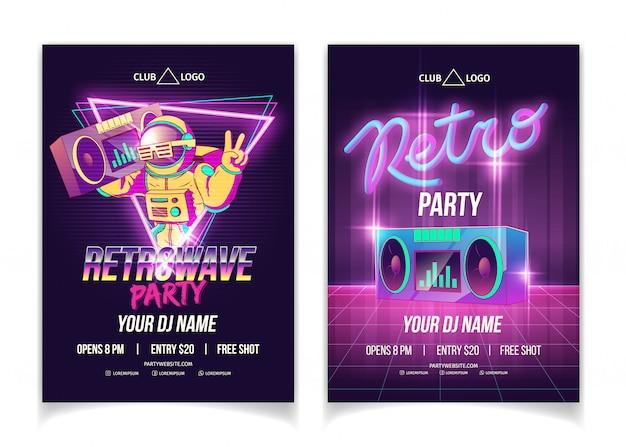 Fiesta de música retrowave en cartel publicitario, folleto o plantilla de póster de dibujos animados de discoteca en colores neón vector gratuito
