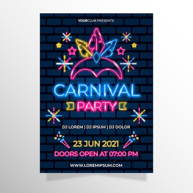 Fiesta de neón de carnaval con corona de plumas claras vector gratuito