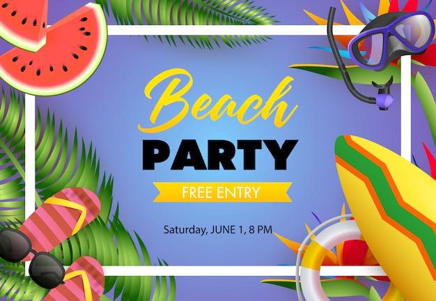 Fiesta en la playa, diseño de cartel de entrada libre. chancletas vector gratuito
