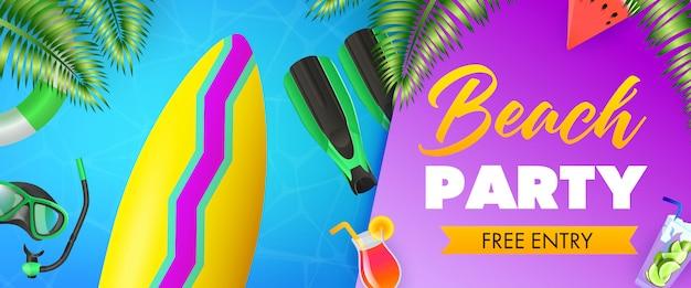Fiesta en la playa, inscripción gratuita, tabla de surf, máscara de buceo vector gratuito