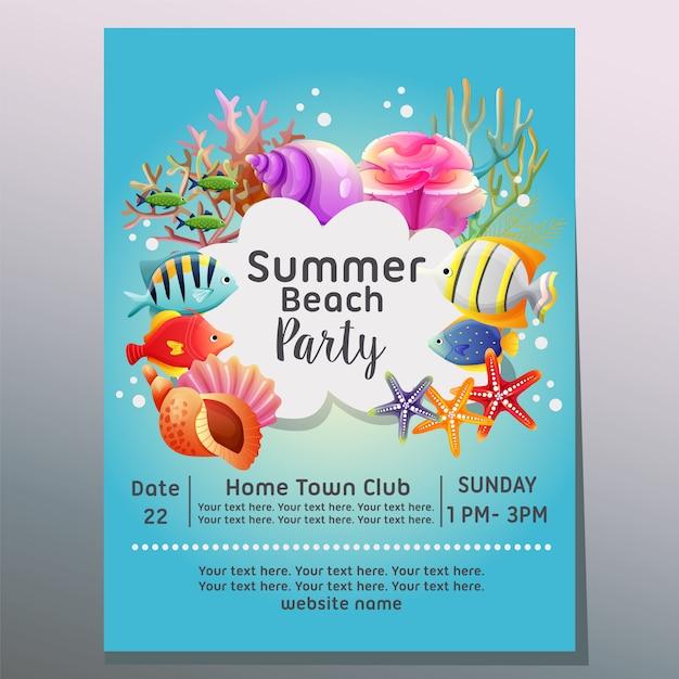 Fiesta en la playa de verano bajo la ilustración de vector de plantilla de cartel de vacaciones mar Vector Premium