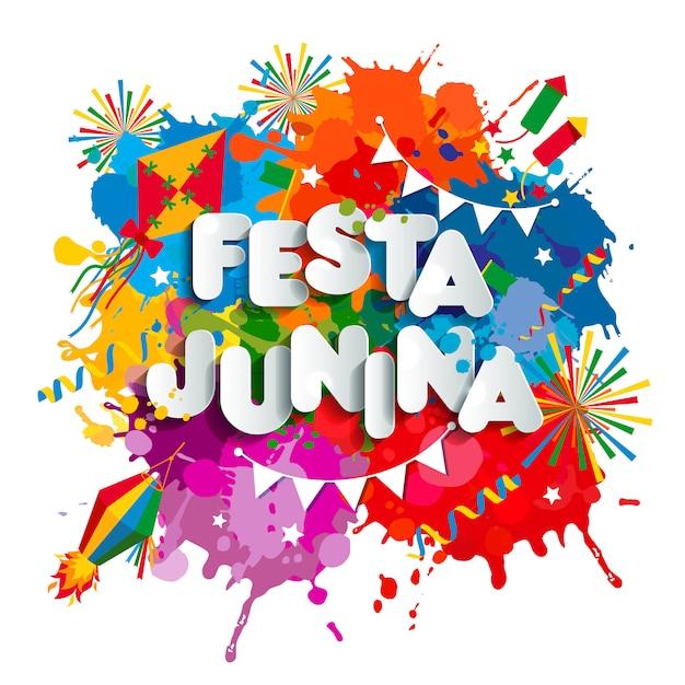 Fiesta del pueblo de festa junina en américa latina. iconos establecidos en color brillante. decoración de estilo plano. Vector Premium