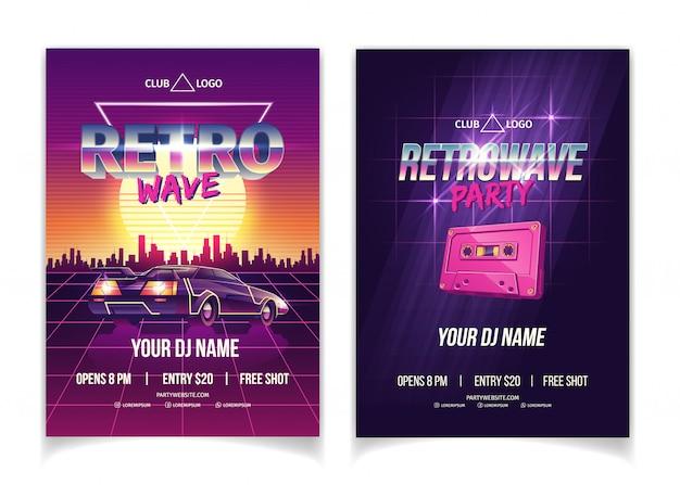 Fiesta de retrowave, música electrónica de los 80, actuación de dj en un póster de dibujos animados de discoteca, folleto promocional y póster vector gratuito