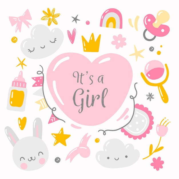 Fiesta sorpresa de baby shower para niña vector gratuito