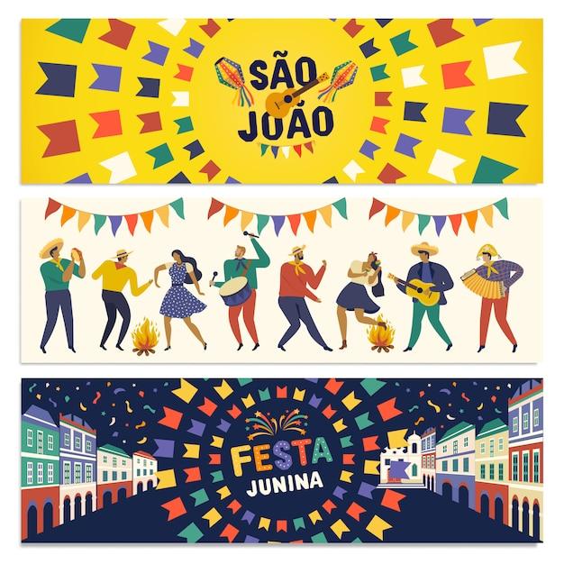 Fiesta tradicional brasilera bandera de fiesta junina Vector Premium