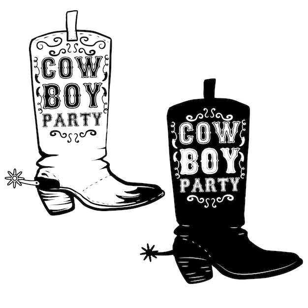 Fiesta vaquera dibujado a mano ilustración de botas de vaquero. elemento para póster, volante. ilustración Vector Premium