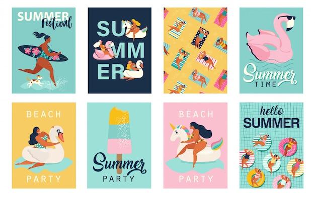 Fiesta de verano. hola carteles de verano. lindo conjunto de carteles retro. Vector Premium