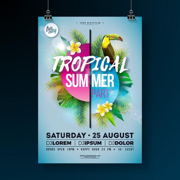 Fiesta de verano tropical con diseño de flyer con flor y tucán. Vector Premium