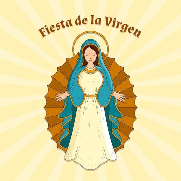 Fiesta de la virgen dibujada a mano Vector Premium