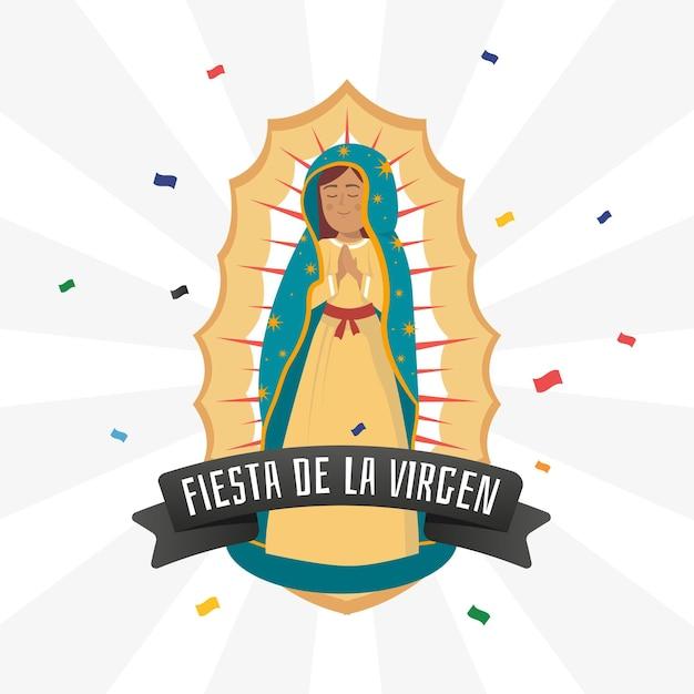 Fiesta de la virgen dibujada a mano vector gratuito