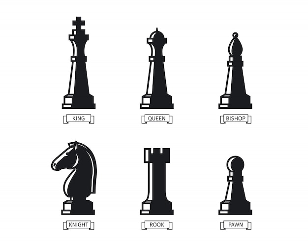 Figuras de ajedrez con nombres Vector Premium