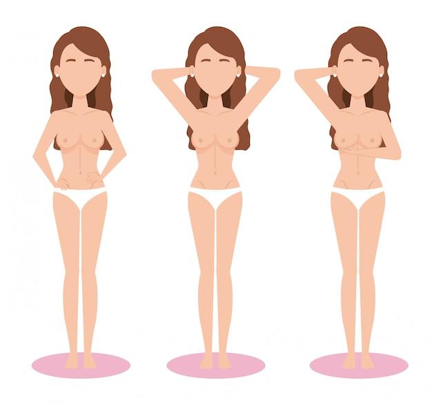 Figuras de mujeres con prueba de cáncer de seno vector gratuito
