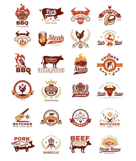 Fije las insignias de la parrilla y de la barbacoa, etiquetas engomadas, emblemas vector gratuito