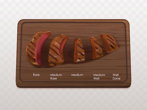 Filetes de ternera asados tipos, etapas vector gratuito