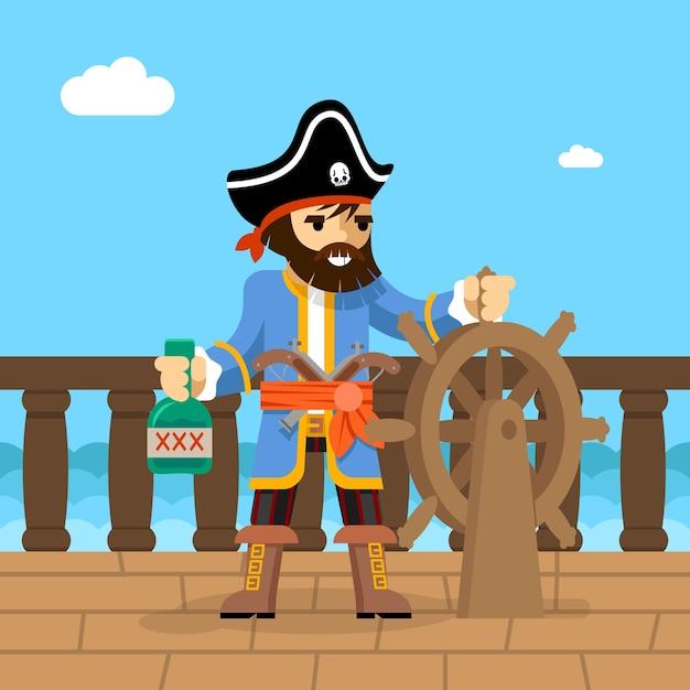 Filibustero. capitán del barco pirata de pie en cubierta al timón con una botella de ron. vector gratuito