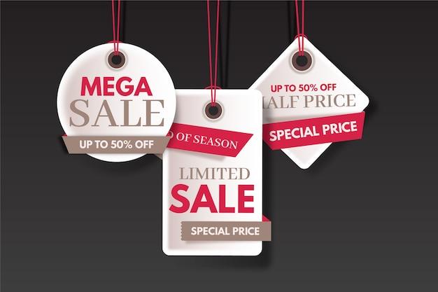 Fin de año venta ahorro conjunto de etiquetas coloridas vector gratuito