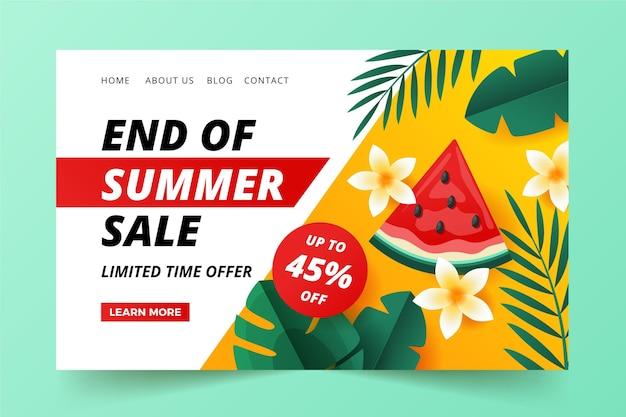 Fin de la página de inicio de venta de verano ilustrada vector gratuito
