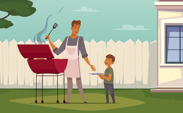 Fin de semana de verano, barbacoa en el patio, cartel de dibujos animados retro con padre de barbacoa. vector gratuito