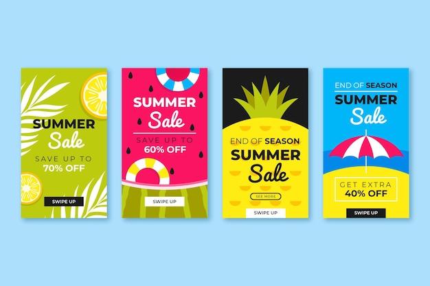 Fin de temporada colección de historias de instagram de rebajas de verano vector gratuito