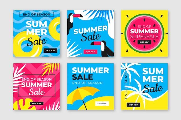 Fin de temporada venta de verano instagram post pack vector gratuito