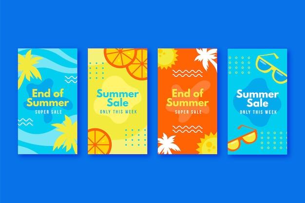 Fin de temporada venta de verano paquete de historias de instagram vector gratuito