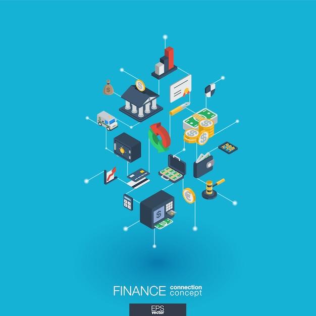 Financiar iconos web integrados. concepto de interacción isométrica de red digital. sistema de línea y punto gráfico conectado. fondo abstracto para banco de dinero, transacción de mercado. infografía Vector Premium