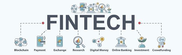 Fintech -financial tecnología banner web icon set Vector Premium