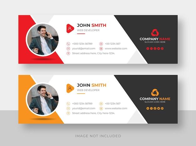 Firma de correo electrónico o pie de página de correo electrónico y plantilla de diseño de portada de facebook de redes sociales personales Vector Premium