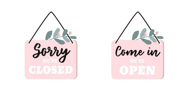 Firme lo siento, estamos cerrados. entra entra, estamos abiertos. conjunto de dos marcos, letreros de puerta. Vector Premium