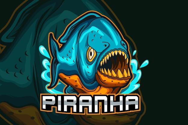 Fish piranha esport y diseño de logotipo de mascota deportiva en concepto de ilustración moderna para la insignia del equipo, el emblema y la impresión de sed Vector Premium