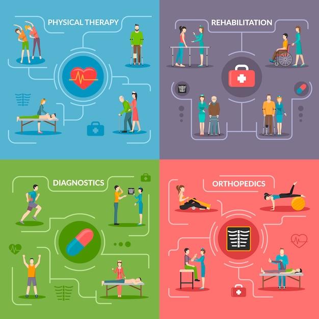 Fisioterapia rehabilitación 2x2 concept vector gratuito