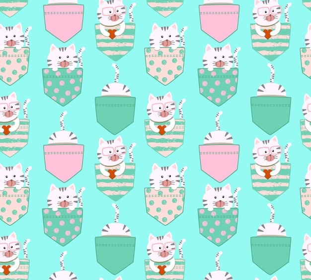 Sin fisuras patrón de dibujos animados lindo pequeño gatito gato blanco y gris Vector Premium