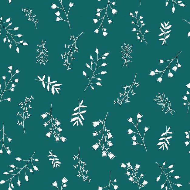 Sin fisuras patrón de flores y hojas blancas escandinavas Vector Premium