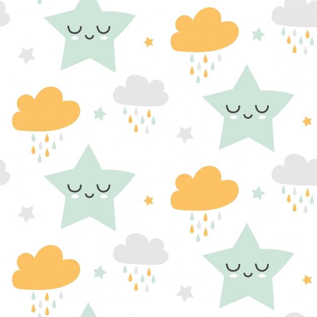 Sin fisuras patrón lindo de nubes y estrellas Vector Premium