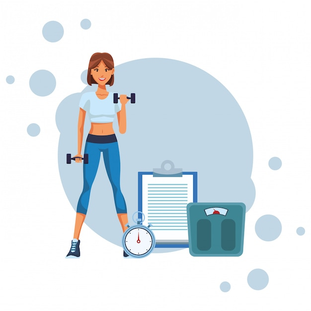 Fit mujer haciendo ejercicio Vector Premium