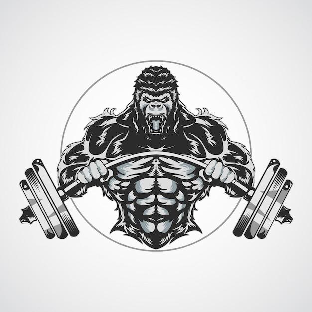 Fitnes gorilla logos Vector Premium