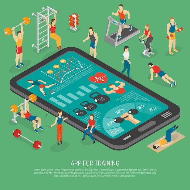 Fitness accesorios para teléfonos inteligentes aplicaciones cartel isométrico vector gratuito