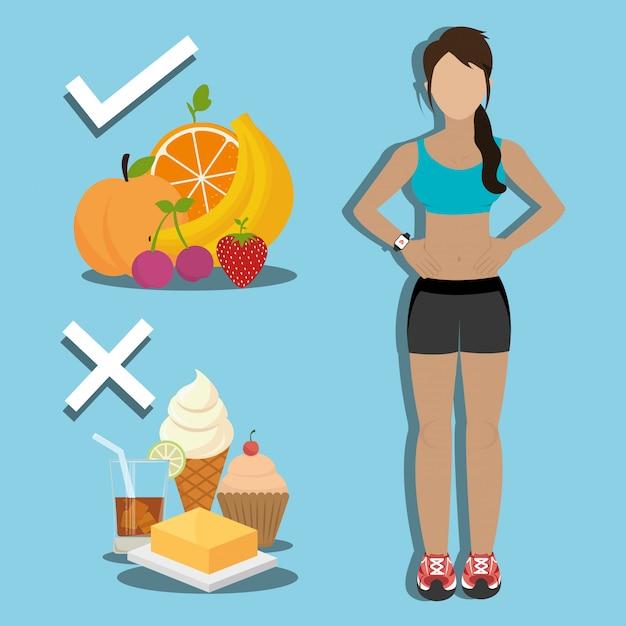 Fitness y comida sana vector gratuito