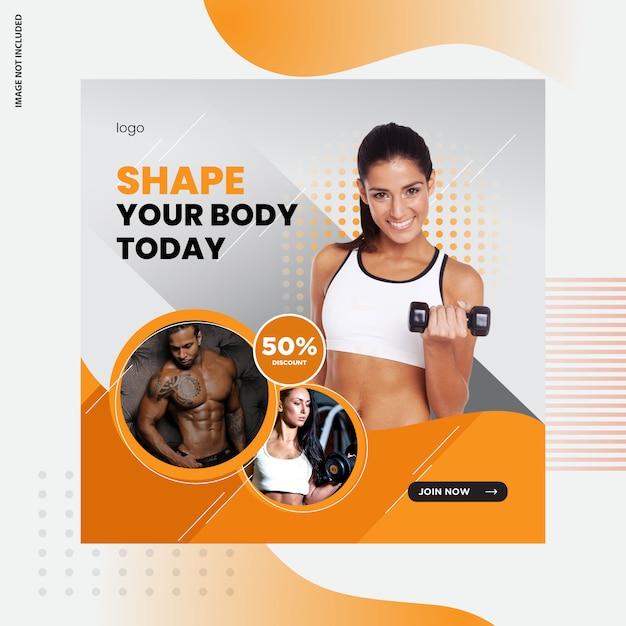 Fitness, gimnasio diseño de publicaciones en redes sociales Vector Premium