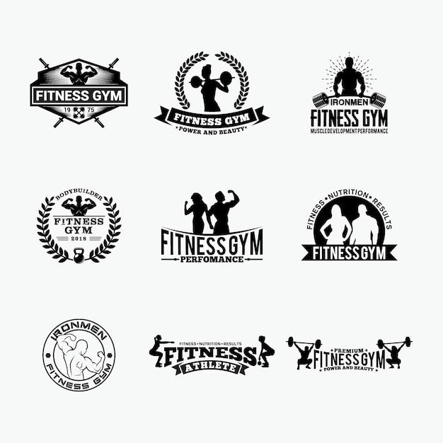Fitness gym- badges -logos 1 Vector Premium