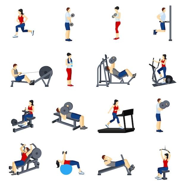 Fitness gym training icons set vector gratuito