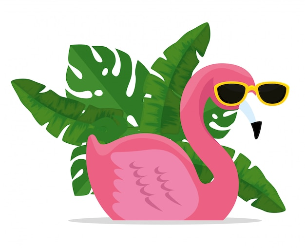 Flamenco tropical con gafas de sol con hojas exóticas vector gratuito