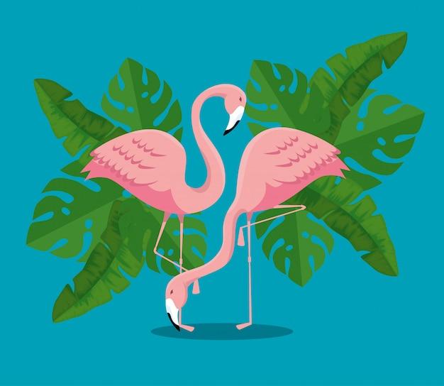 Flamencos tropicales con plantas de hojas exóticas vector gratuito