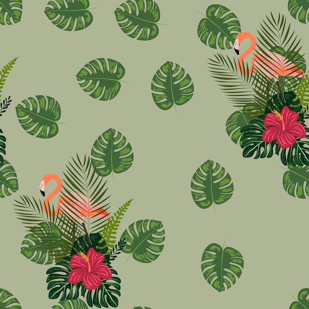 Flamingo con flores tropicales y hojas de patrones sin fisuras. Vector Premium