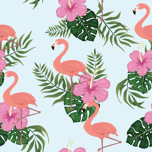 Flamingo patrón tropical sin costura Vector Premium
