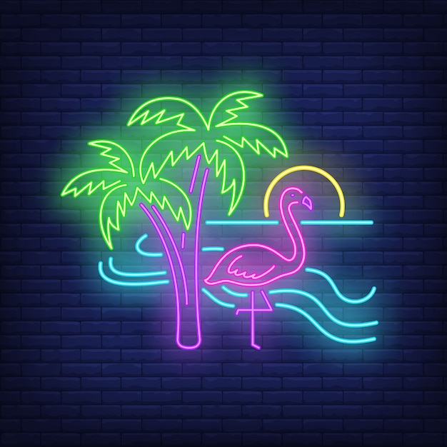 Flamingo en la playa de neón. vector gratuito