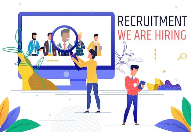 Flat banner es un reclutamiento escrito que estamos contratando. Vector Premium