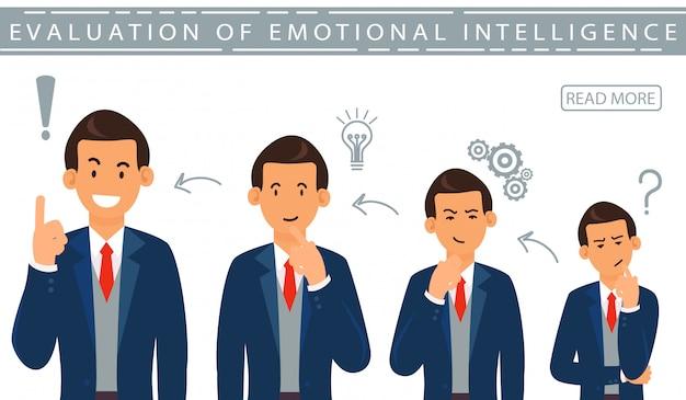 Flat banner evalution inteligencia emocional. Vector Premium