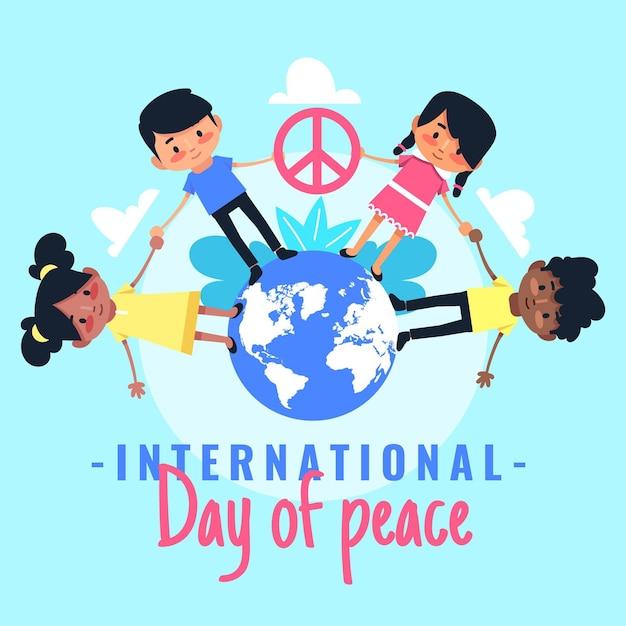 Flat dia internacional de la paz vector gratuito